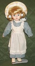 "Vintage House of Lloyd 14"" Porcelain Doll Blond Hair Blue Eyes 1989 w/ stand AND"