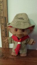 "Ace 4"" Treasure Troll Scout w/short red hair & round jewel/gem"