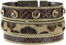 BIBI BIJOUX LEOPARD PRINT FUR & BROWN LEATHER CUFF - BNWT