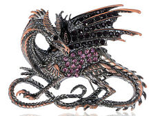 GB Chinese Multicolored Rhines Embellished Winged Dragon Pin Brooch Fashion