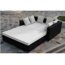 Divano grande nero cuscini bianchi scomponibile moderni arredi esterni rattan 12
