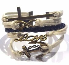 Infinity Cross Anchor Cream colored chord bracelet antique bronze color charms