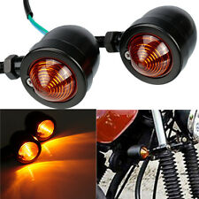 2x Nero Motorcycle Bullet Motociclo turn Signal Indicatore Light Amber DC 12V