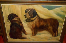 H. Wilton     magnificent  DOGS  IN  SNOW  SCENERY  oil painting  signed