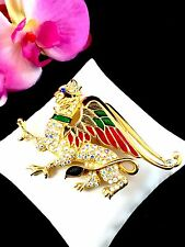 ULTRA RARE 1997 LTD. EDITION TRIFARI TM ENAMAL RHINESTONE WINGED GRIFFIN BROOCH