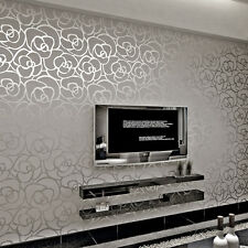 Modern Silver Gray Rose Flower Pattern Mural Living Room Bedroom Wallpaper Roll
