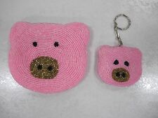 Pink Beaded Pig Coin Change Purse with Zipper and Piggy Piglet Key Ring NWOT
