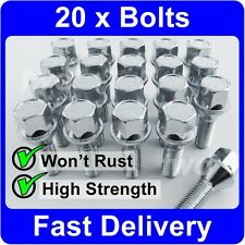 20 x SILVER ALLOY WHEEL BOLTS FOR BMW (M14x1.25) 14MM LUG NUT SCREWS [7F]