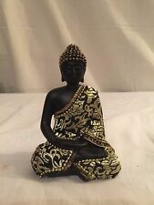 NEW ASIAN BLACK BUDDHA MEDITATING EMBRIODERED FABRIC GARMENT STATUE FIGURE 4.5""