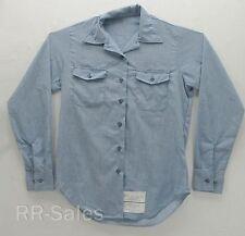 US Military Navy Women's Utility Work Shirt Long Sleeve Blue 12 X 32 Short Long
