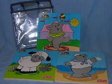 Fisher-Price Little People Seal Elephant Lamb Wood Puzzle 2003 Mattel Puzzles