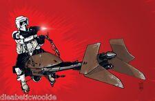 Star Wars Scout Trooper speeder bike SDCC art print movie poster Tom Hodges Jedi