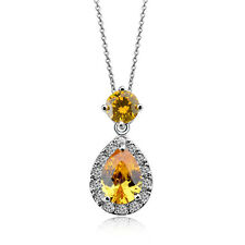 GORGEOUS 18K WHITE GOLD PLATED GENUINE TOPAZ YELLOW SWAROVSKI CRYSTAL NECKLACE