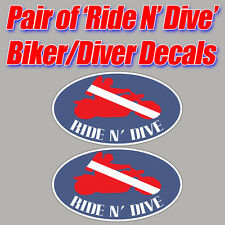 Ride N' Dive scuba sticker decal diver down biker graphic bubbles and gears