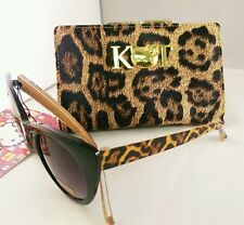 New HELLO KITTY Animal Print Leather Wallet with Matching Cat Eye Sunglasses