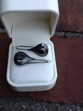 Sterling Silver Black Onyx Teardrop Pear Long Hook Pierced Earrings 925