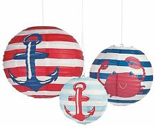3 Nautical Baby Shower Chinese Lanterns Sailor Supplies Party Sailing Theme