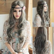 Lolita Women's Long Wavy Curly Full Wig Hair Heat Resistant Cosplay Party Gray