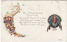MY THANKSGIVING GREETING - Turkey - #342C - 1918 used postcard