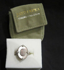 Judith Ripka Sterling Pink Mother-of-Pearl Diamonique Ring Size 10