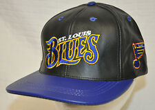 Vtg ST LOUIS Blues NHL 1990's SNAPBACK Hat CAP Black BLUE Leather USA Made EUC