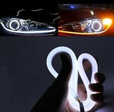 1 X 60 cm Flexible Audi Style Tube Type White Amber Switchback LED DRL Indicator