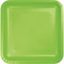 "18 Fresh Lime Green Wedding Birthday Party Tableware 7"" Square Paper Plates"