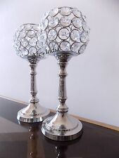 Set of 2 Crystal Votive Tealight Candle Holders Wedding Centerpieces Candelabra