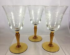 Antique Amber Stem Hand Etched Cordial Wine Liquor Cocktail Glass Glasses Set 3