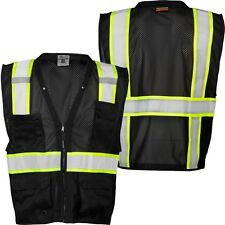 ML KISHIGO B100 Safety Vest, Black with lime yellow & silver reflective 4X-5X