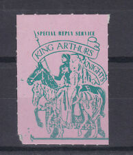 1971 STRIKE MAIL KING ARTHURS KNIGHTS SPECIAL REPLY SERVICE GREEN ON PINK STAMP