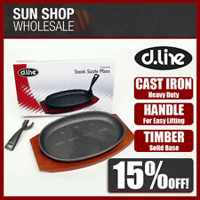 100% Genuine! D.LINE Cast Iron Steak Sizzle Plate w/Lifting Handle! RRP $39.95!