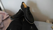 Men's ZEGNA sport arrow noir cuir daim baskets taille uk 5