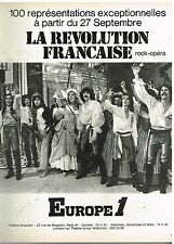 Publicité Advertising 1974 Radio Europe 1 present Opera Rock la Revolution