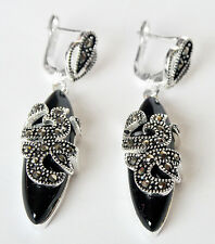 1 4/5'' Marcasite 925 Sterling Inlay Black Agate Onxy Drop Dangle Earring