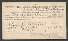 1884 PC DEAUVILLE THE INDIANA BLOOMINGTON & WESTERN RWY CO FREIGHT NOTICE