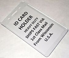 2 Vertical ID Cards Heavy Duty Clear Plastic Badge Holder School Conference Lab
