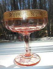 PINK DEPRESSION GOLD ROSE  TIFFIN RAMBLING ROSE GLASS COMPOTE CANDY