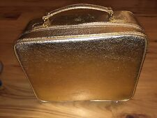 Estee Lauder Gold Cosmetic Bag TRAIN CASE Soft Side Travel Bag Suitcase