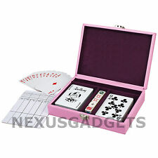 Playing Card 2 Deck Poker Game Set 5 Dice PINK Leatherette Case Girls Girl Cards