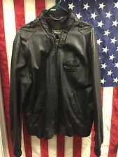 Vintage 80s MEMBERS ONLY Cafe Racer Black Leather MOTORCYCLE Jacket Size 42L