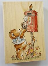 Wood Backed Rubber Stamp Penny Black Team Effort Teddy Bear Posting Card Letter
