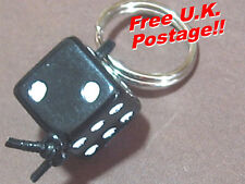 Lucky dice - Black white Zipper pull  flying or leather jacket accessory - repro
