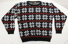 Vintage TACKY UGLY CHRISTMAS SWEATER Snowflake Ski By BOTANY 500 Size Large
