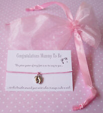 Pink Mummy To Be Baby Feet Charm Wish Friendship Bracelet Baby Shower Gift & Bag