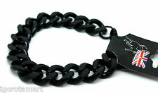 MAN BOY BLACK MEN'S JEWELRY CUBAN CURB CHAIN Stainless Steel Link Bracelet