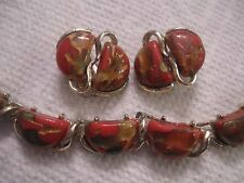 """CORO 16"""" lucite thermoset moonglow confetti cab necklace 1"""" earrings-signed"""