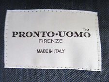 Pronto Uomo Gray Pin Suit 44L 38x30 Super 100s Wool Skillfully Crafted in Italy