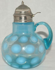 ANTIQUE VICTORIAN EAPG BLUE OPALESCENT GLASS COINSPOT SYRUP PITCHER AS IS BROKEN