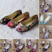 Fashion Women's Casual Boat Floral Shoes Slip On Flats Suede Loafers Single Shoe